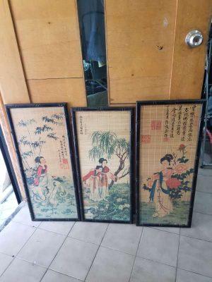 Trio de cuadros orientales doble vidrio y bambú, perfecto estado