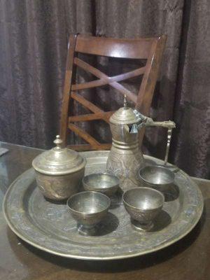 * Juego de te Afgano en 3 metales bronce plata y cobre