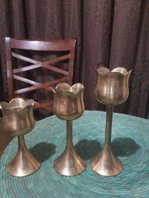 Trio De Candelabros En Bronce Pesados Antiguos Unícos