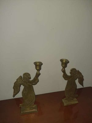 Candelabros-candeleros Bronce Antiguos No Comunes diseño Angeles
