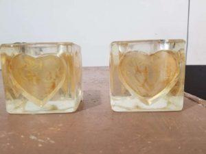 Portavelas Cristal grueso corazon grabado vintage Piezas Unicas